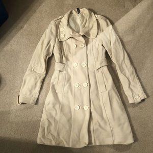 H&M cream ivory wool jacket coat size 6